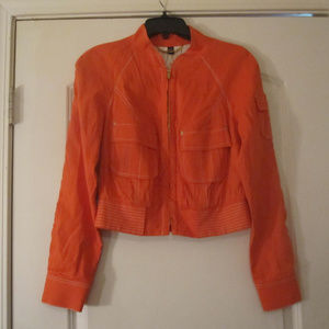 Bebe Womens Orange Waist Length Jacket Sz.M